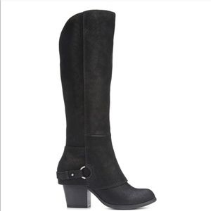 Fergalicious over the knee black boots with heel